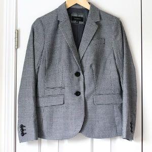 Talbots black white houndstooth blazer jacket